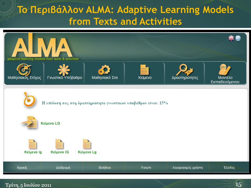 To Περιβάλλον ALMA: Adaptive Learning Models from Texts and Activities 15 Τρίτη, 5 Ιουλίου 2011