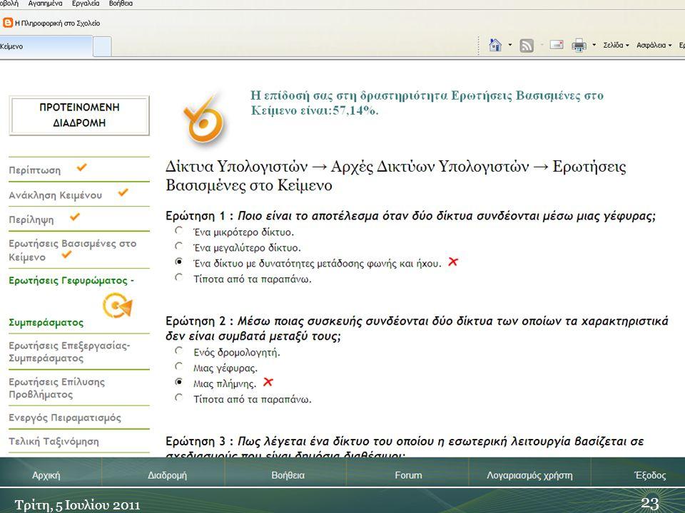 Ερωτήσεις Βασισμένες στο Κείμενο 23 Τρίτη, 5 Ιουλίου 2011
