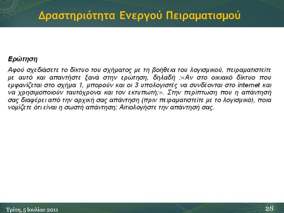 Δραστηριότητα Ενεργού Πειραματισμού 28 Τρίτη, 5 Ιουλίου 2011