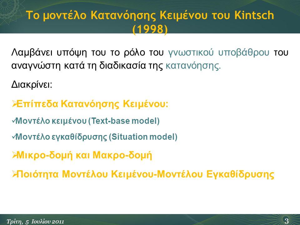 Το μοντέλο Κατανόησης Κειμένου του Kintsch (1998) 3 Τρίτη, 5 Ιουλίου 2011 Λαμβάνει υπόψη του το ρόλο του γνωστικού υποβάθρου του αναγνώστη κατά τη διαδικασία της κατανόησης.