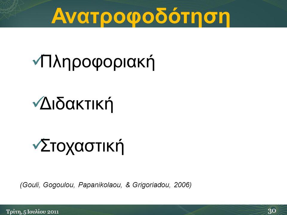 Ανατροφοδότηση 30 Τρίτη, 5 Ιουλίου 2011 Πληροφοριακή Διδακτική Στοχαστική (Gouli, Gogoulou, Papanikolaou, & Grigoriadou, 2006)