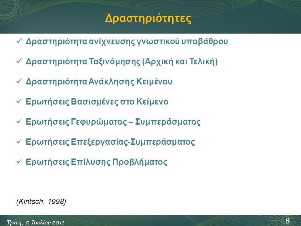 Δραστηριότητες 8 Τρίτη, 5 Ιουλίου 2011 Δραστηριότητα ανίχνευσης γνωστικού υποβάθρου Δραστηριότητα Ταξινόμησης (Αρχική και Τελική) Δραστηριότητα Ανάκλη