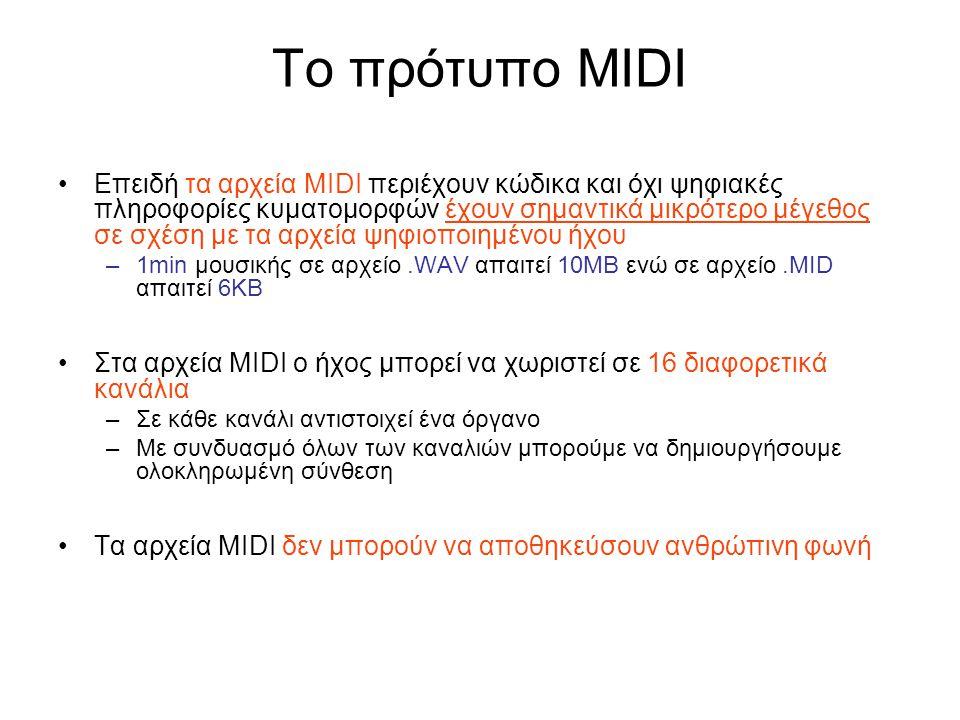 Το πρότυπο MIDI Επειδή τα αρχεία MIDI περιέχουν κώδικα και όχι ψηφιακές πληροφορίες κυματομορφών έχουν σημαντικά μικρότερο μέγεθος σε σχέση με τα αρχε
