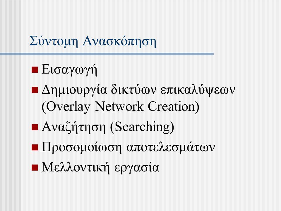 Σύντομη Ανασκόπηση Εισαγωγή Δημιουργία δικτύων επικαλύψεων (Overlay Network Creation) Αναζήτηση (Searching) Προσομοίωση αποτελεσμάτων Μελλοντική εργασία