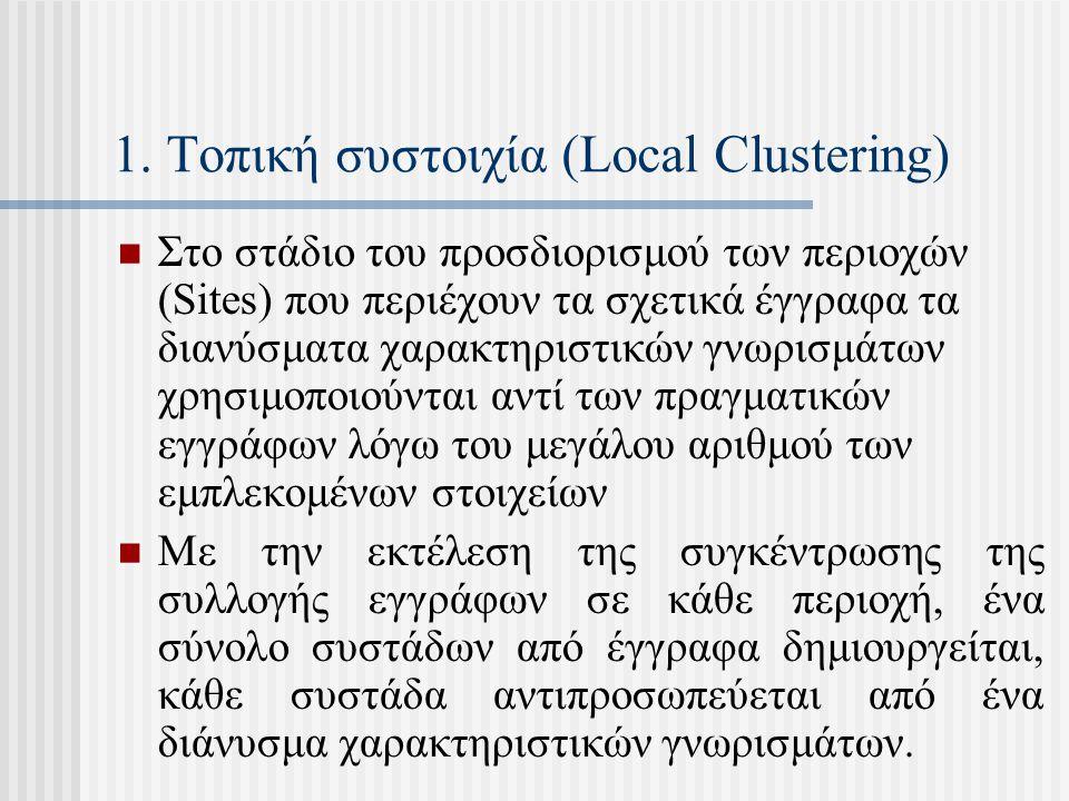 1. Τοπική συστοιχία (Local Clustering) Στο στάδιο του προσδιορισμού των περιοχών (Sites) που περιέχουν τα σχετικά έγγραφα τα διανύσματα χαρακτηριστικώ