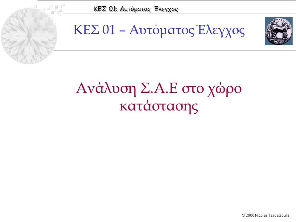 ΚΕΣ 01: Αυτόματος Έλεγχος © 2006 Nicolas Tsapatsoulis ◊Παρασκευόπουλος [2004]: Κεφάλαιο 5: Ενότητες 5.1-5.2 ◊Παρασκευόπουλος [2005]: Εφαρμογές, Κεφάλαιο 5 ◊DiStefano [1995]: Chapter 3: Section 3.15, Chapter 20: Sections 20.1 & 20.2 ◊Tewari [2005]: Chapters 3 & 4 Βιβλιογραφία Ενότητας  Ορισμός Κατάστασης  Περιγραφή Σ.Α.Ε στο χώρο κατάστασης  Λύση εξισώσεων κατάστασης  Ελέγξιμο Σ.Α.Ε  Παρατηρήσιμο Σ.Α.Ε  Ευστάθεια στο Χώρο Κατάστασης
