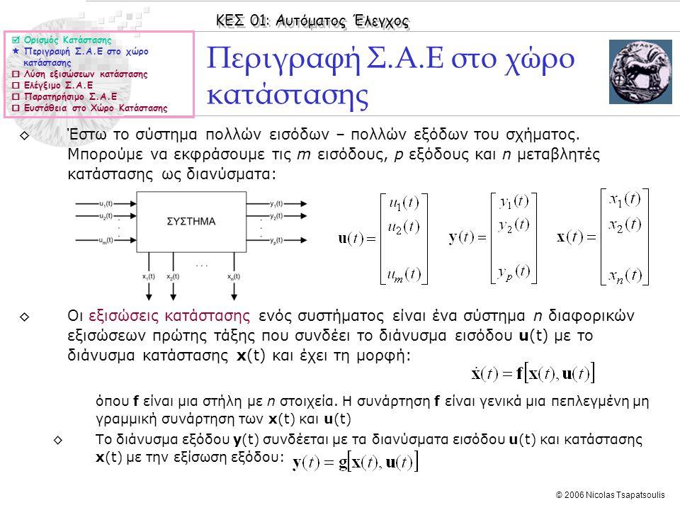 ΚΕΣ 01: Αυτόματος Έλεγχος © 2006 Nicolas Tsapatsoulis Παράδειγμα Παράδειγμα: ◊Να ελεγχθεί η ευστάθεια του συστήματος με: και να υπολογιστεί ο πίνακας συναρτήσεων μεταφοράς Λύση Οι ιδιοτιμές του πίνακα Α είναι λ 1 =-3, λ 2 =-2, λ 3 =-1.