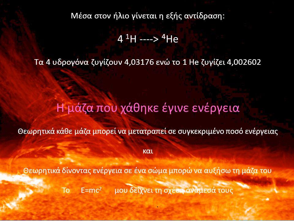 Μέσα στον ήλιο γίνεται η εξής αντίδραση: 4 1 Η ----> 4 He Τα 4 υδρογόνα ζυγίζουν 4,03176 ενώ το 1 He ζυγίζει 4,002602 Η μάζα που χάθηκε έγινε ενέργεια
