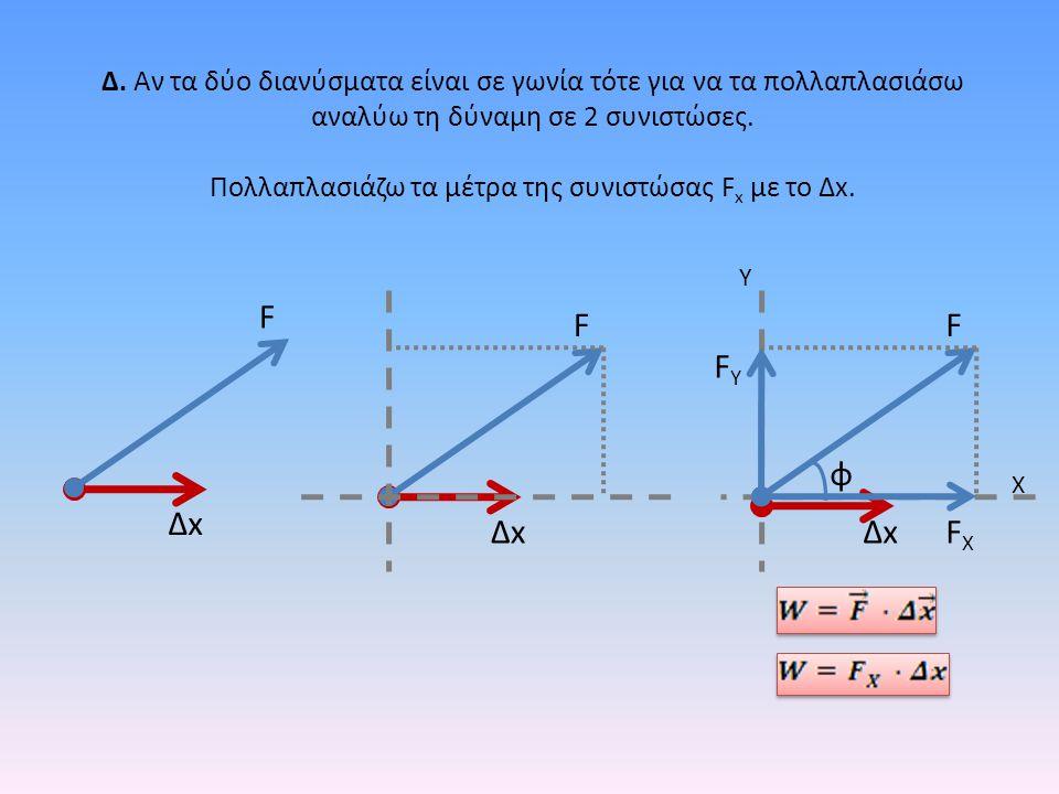 Δ. Αν τα δύο διανύσματα είναι σε γωνία τότε για να τα πολλαπλασιάσω αναλύω τη δύναμη σε 2 συνιστώσες. Πολλαπλασιάζω τα μέτρα της συνιστώσας F x με το