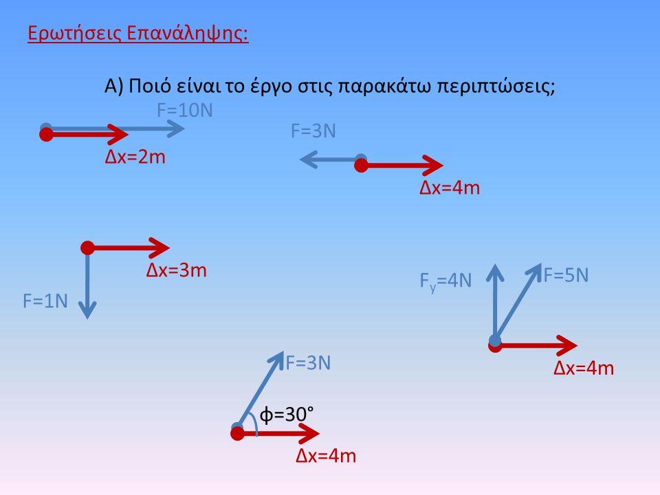 Ερωτήσεις Επανάληψης: Α) Ποιό είναι το έργο στις παρακάτω περιπτώσεις; Δx=2m F=10N Δx=4m F=3N Δx=3m F=1N Δx=4m F=5N F y =4N Δx=4m F=3N φ=30°