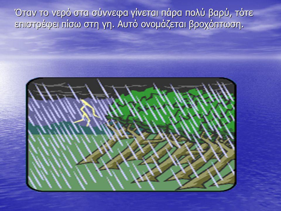 Όταν το νερό στα σύννεφα γίνεται πάρα πολύ βαρύ, τότε επιστρέφει πίσω στη γη. Αυτό ονομάζεται βροχόπτωση.