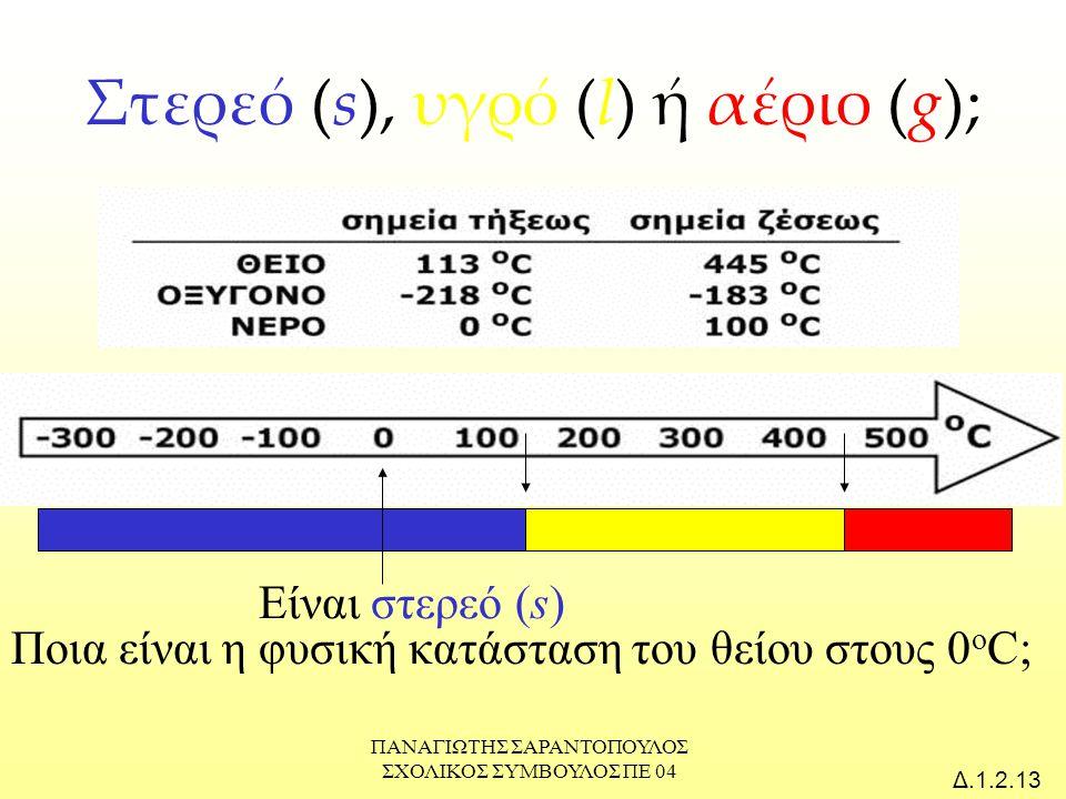 ΠΑΝΑΓΙΩΤΗΣ ΣΑΡΑΝΤΟΠΟΥΛΟΣ ΣΧΟΛΙΚΟΣ ΣΥΜΒΟΥΛΟΣ ΠΕ 04 Δ.1.2.14 Στερεό (s), υγρό (l) ή αέριο (g); Ποια είναι η φυσική κατάσταση του οξυγόνου στους 0 ο C; Είναι αέριο (g)