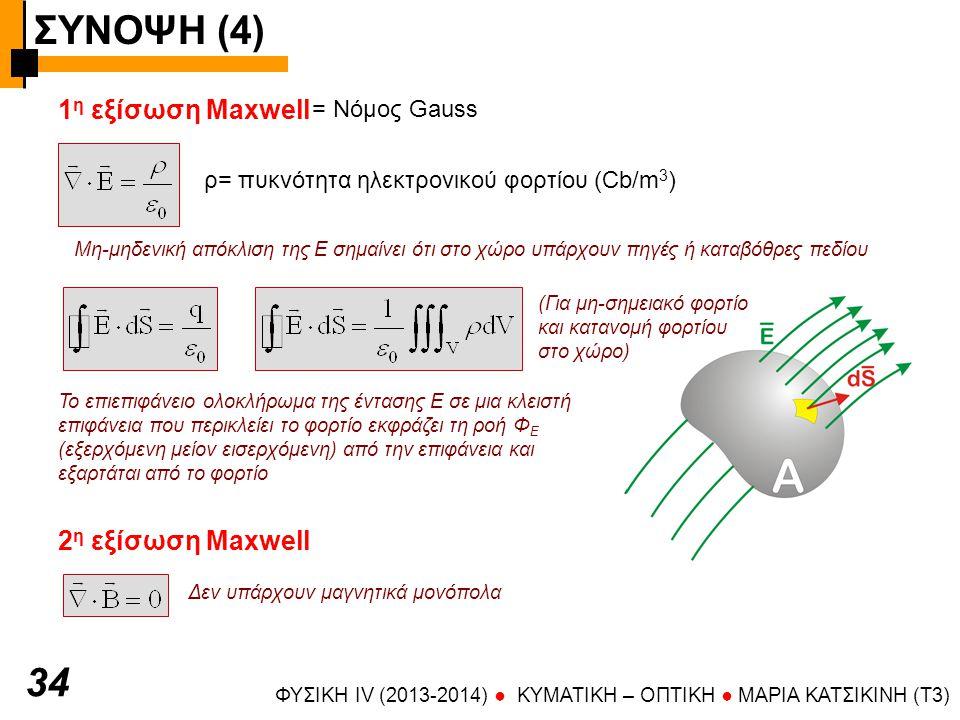 ΣΥΝΟΨΗ (4) ΦΥΣΙΚΗ IV (2013-2014) ● KYMATIKH – OΠTIKH ● ΜΑΡΙΑ ΚΑΤΣΙΚΙΝΗ (T3) 3535 3 η εξίσωση Maxwell = Νόμος Faraday Η στροφή εκφράζει τη «στροβιλότητα» του πεδίου Ροή μαγνητικού πεδίου από επιφάνεια Α Χρονικώς μεταβαλλόμενο μαγνητικό πεδίο δημιουργεί ηλεκτρικό πεδίο Β Ε Η ηλεκτρεγερτική δύναμη που αναπτύσσεται δίνεται από το επικαμπύλιο ολοκλήρωμα της Ε κατά μήκος κλειστής καμπύλης.