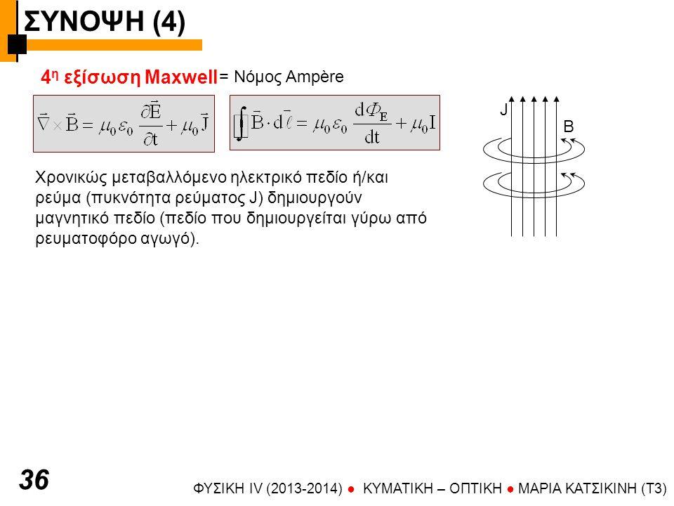 ΣΥΝΟΨΗ (4) ΦΥΣΙΚΗ IV (2013-2014) ● KYMATIKH – OΠTIKH ● ΜΑΡΙΑ ΚΑΤΣΙΚΙΝΗ (T3) 37 Οι 4 εξισώσεις του Μaxwell αν συνδυαστούν κατάλληλα οδηγούν σε η/μ κύματα Ταυτότητα: Στα η/μ κύματα τα μεταβαλλόμενα μεγέθη είναι διανυσματικά (Ε,Β) Αρμονικές λύσεις (επίπεδα κύματα): Μπορεί να έχει οποιαδήποτε διεύθυνση Μπορεί να έχει καθορισμένη διεύθυνση π.χ.