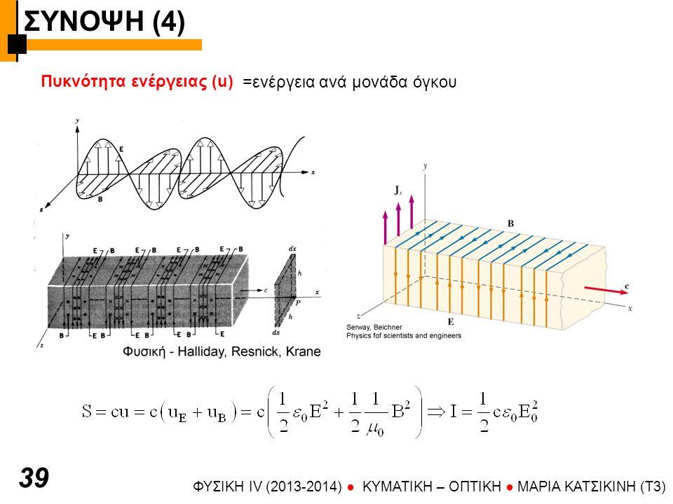 ΣΥΝΟΨΗ (4) ΦΥΣΙΚΗ IV (2013-2014) ● KYMATIKH – OΠTIKH ● ΜΑΡΙΑ ΚΑΤΣΙΚΙΝΗ (T3) 40 Εκπομπή η/μ ακτινοβολίας από ταλαντούμενο δίπολο Για την εκπομπή η/μ ακτινοβολίας είναι απαραίτητη η επιτάχυνση του φορτίου (οι δυναμικές γραμμές αποκτούν και εγκάρσια συνιστώσα του Ε) Η εκπομπή ακτινοβολίας από ταλαντούμενο δίπολο είναι μέγιστη σε επίπεδο κάθετο στη διεύθυνση του διπόλου.