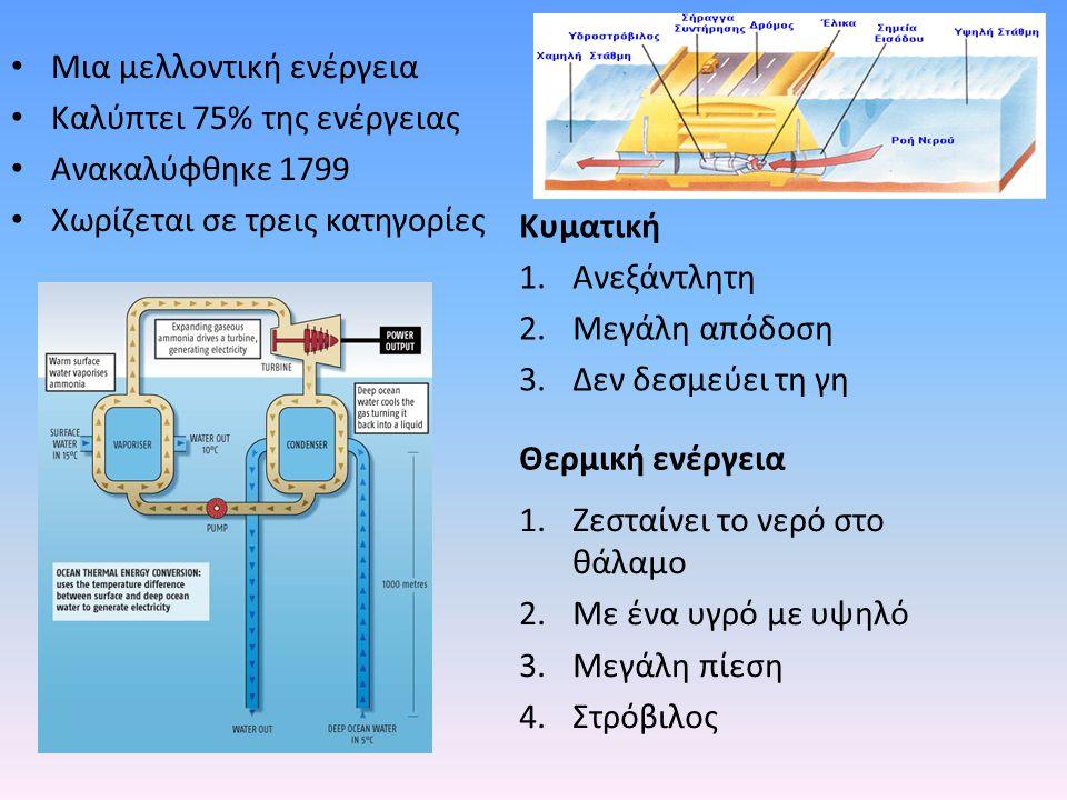 Μια μελλοντική ενέργεια Καλύπτει 75% της ενέργειας Ανακαλύφθηκε 1799 Χωρίζεται σε τρεις κατηγορίες Κυματική 1.Ανεξάντλητη 2.Μεγάλη απόδοση 3.Δεν δεσμε
