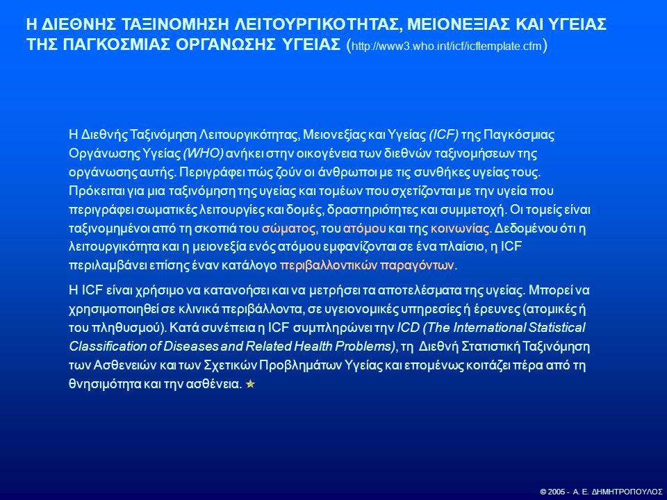 © 2005 - Α. Ε. ΔΗΜΗΤΡΟΠΟΥΛΟΣ Η ΔΙΕΘΝΗΣ ΤΑΞΙΝΟΜΗΣΗ ΛΕΙΤΟΥΡΓΙΚΟΤΗΤΑΣ, ΜΕΙΟΝΕΞΙΑΣ ΚΑΙ ΥΓΕΙΑΣ ΤΗΣ ΠΑΓΚΟΣΜΙΑΣ ΟΡΓΑΝΩΣΗΣ ΥΓΕΙΑΣ ( http://www3.who.int/icf/ic