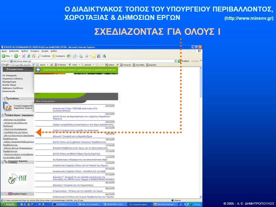 Ο ΔΙΑΔΙΚΤΥΑΚΟΣ ΤΟΠΟΣ ΤΟΥ ΥΠΟΥΡΓΕΙΟΥ ΠΕΡΙΒΑΛΛΟΝΤΟΣ, ΧΩΡΟΤΑΞΙΑΣ & ΔΗΜΟΣΙΩΝ ΕΡΓΩΝ (http://www.minenv.gr) ΣΧΕΔΙΑΖΟΝΤΑΣ ΓΙΑ ΟΛΟΥΣ Ι © 2005 - Α. Ε. ΔΗΜΗΤΡΟΠ