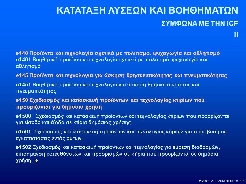 ΚΑΤΑΤΑΞΗ ΛΥΣΕΩΝ ΚΑΙ ΒΟΗΘΗΜΑΤΩΝ ΣΥΜΦΩΝΑ ΜΕ ΤΗΝ ICF II © 2005 - Α. Ε. ΔΗΜΗΤΡΟΠΟΥΛΟΣ e140 Προϊόντα και τεχνολογία σχετικά με πολιτισμό, ψυχαγωγία και αθλ