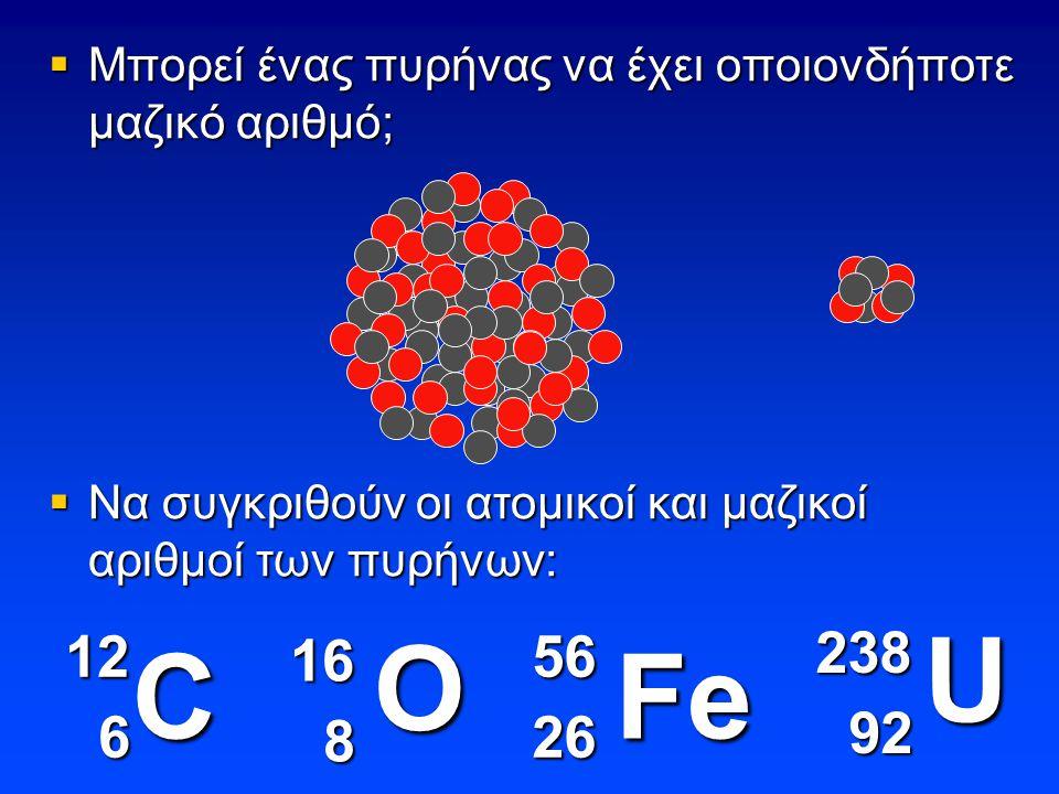  Μπορεί ένας πυρήνας να έχει οποιονδήποτε μαζικό αριθμό; C O U 12 6 16 8 238 92 92 Fe 5626  Να συγκριθούν οι ατομικοί και μαζικοί αριθμοί των πυρήνων: