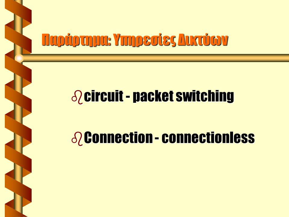 Circuit switching ( Μεταγωγή κυκλώματος) Το φυσικό κύκλωμα προκαθορίζεται για την πραγματοποίηση μιας σύνδεσης.