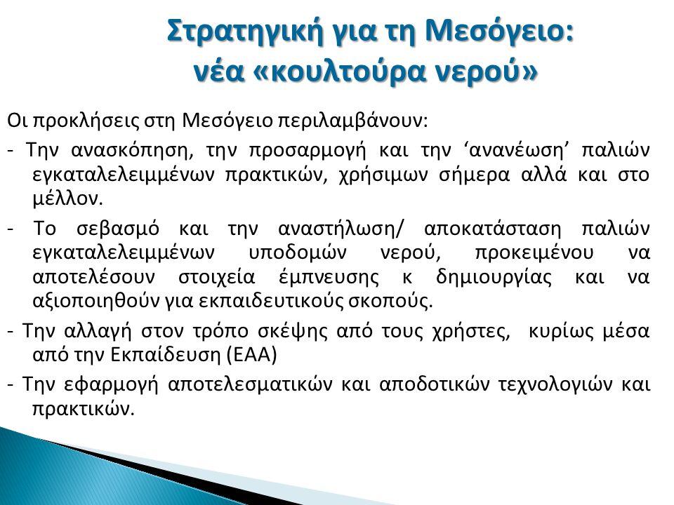 Στρατηγική για τη Μεσόγειο: νέα «κουλτούρα νερού» Οι προκλήσεις στη Μεσόγειο περιλαμβάνουν: - Την ανασκόπηση, την προσαρμογή και την 'ανανέωση' παλιών