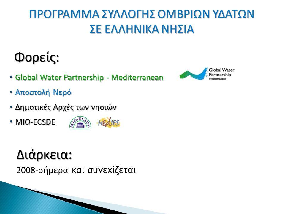 ΠΡΟΓΡΑΜΜΑ ΣΥΛΛΟΓΗΣ ΟΜΒΡΙΩΝ ΥΔΑΤΩΝ ΣΕ ΕΛΛΗΝΙΚΑ ΝΗΣΙΑ Global Water Partnership - Mediterranean Global Water Partnership - Mediterranean Αποστολή Νερό Απ