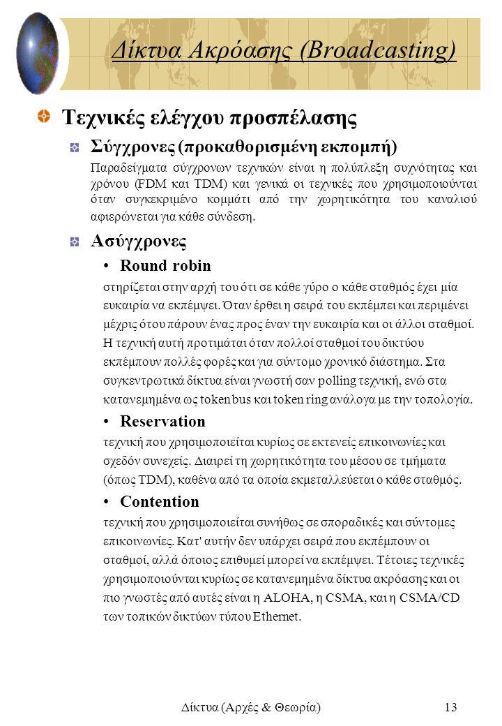 Δίκτυα (Αρχές & Θεωρία)13 Δίκτυα Ακρόασης (Broadcasting) Τεχνικές ελέγχου προσπέλασης Σύγχρονες (προκαθορισμένη εκπομπή) Παραδείγματα σύγχρονων τεχνικ