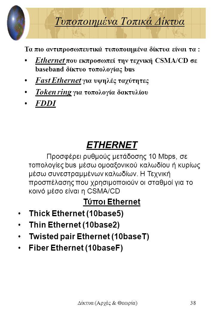 Δίκτυα (Αρχές & Θεωρία)38 Τυποποιημένα Τοπικά Δίκτυα Τα πιο αντιπροσωπευτικά τυποποιημένα δίκτυα είναι τα : Ethernet που εκπροσωπεί την τεχνική CSMA/C
