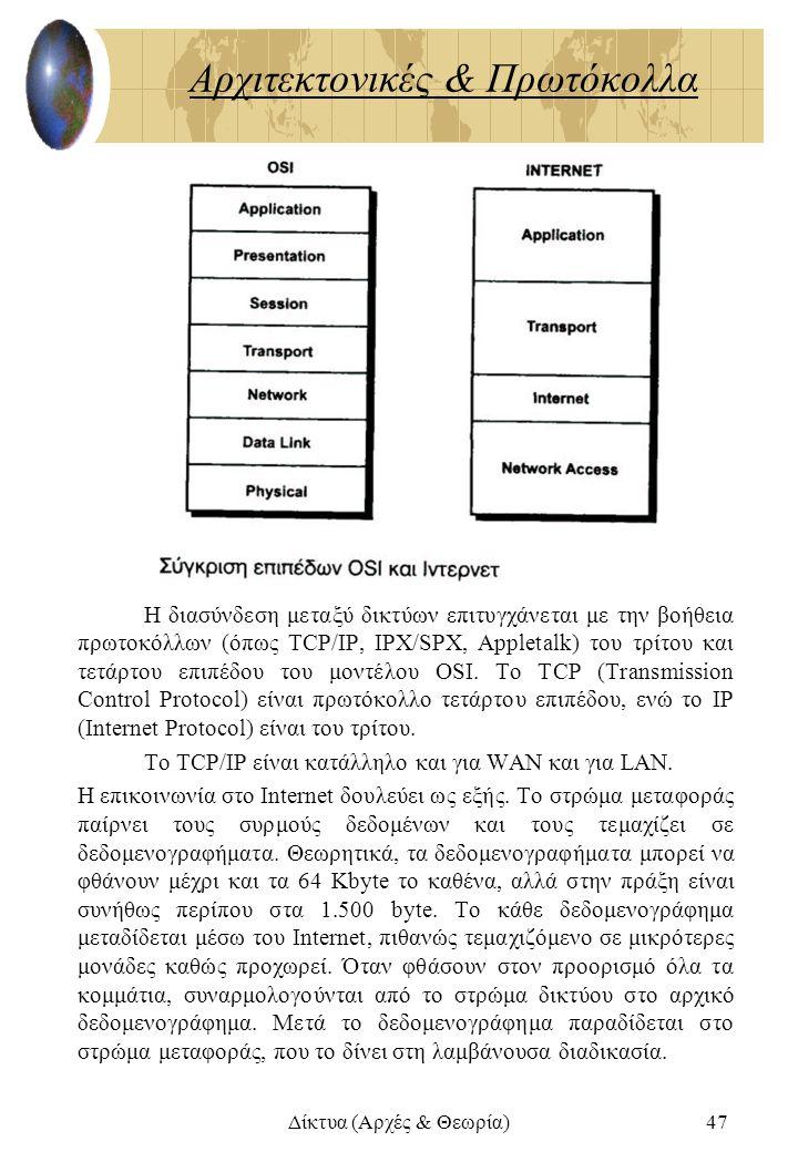 Δίκτυα (Αρχές & Θεωρία)47 Αρχιτεκτονικές & Πρωτόκολλα Η διασύνδεση μεταξύ δικτύων επιτυγχάνεται με την βοήθεια πρωτοκόλλων (όπως TCP/IP, IPX/SPX, Appl