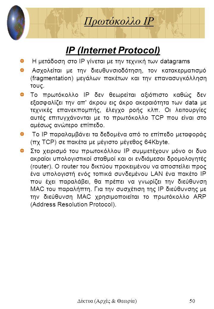 Δίκτυα (Αρχές & Θεωρία)50 Πρωτόκολλο IP IP (Internet Protocol) Η μετάδοση στο IP γίνεται με την τεχνική των datagrams Ασχολείται με την διευθυνσιοδότη