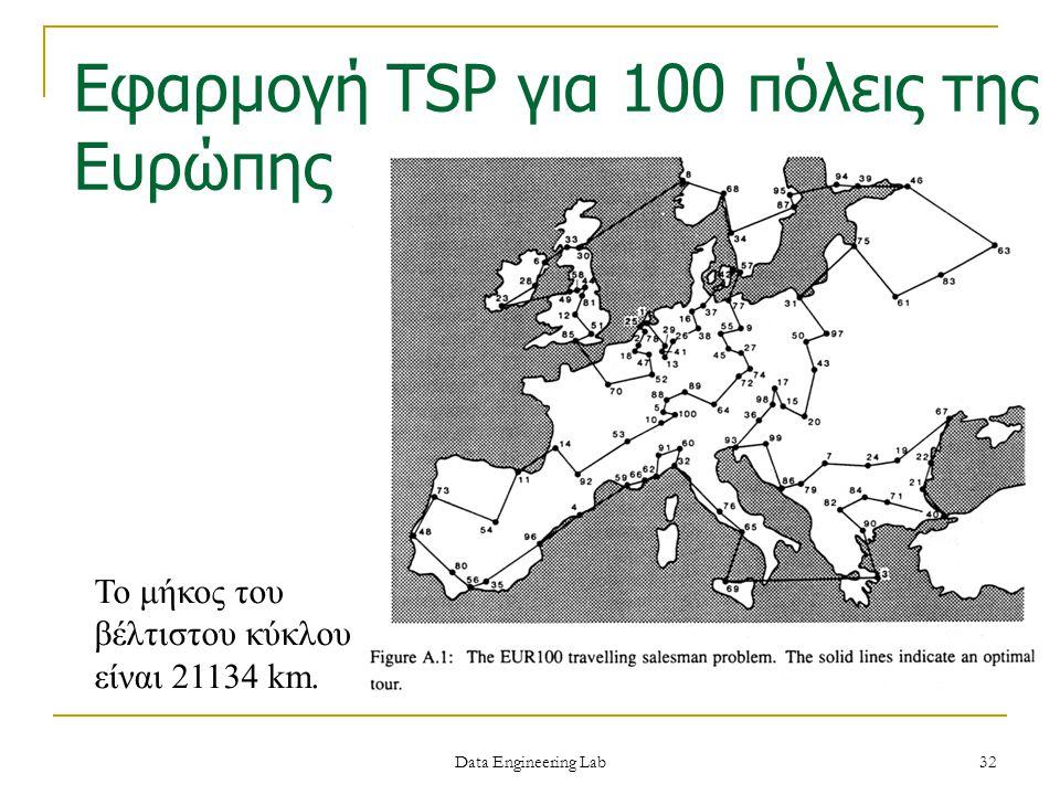 Το μήκος του βέλτιστου κύκλου είναι 21134 km. Εφαρμογή TSP για 100 πόλεις της Ευρώπης Data Engineering Lab 32