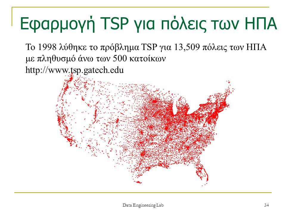 Το 1998 λύθηκε το πρόβλημα TSP για 13,509 πόλεις των ΗΠΑ με πληθυσμό άνω των 500 κατοίκων http://www.tsp.gatech.edu Εφαρμογή TSP για πόλεις των ΗΠΑ Da