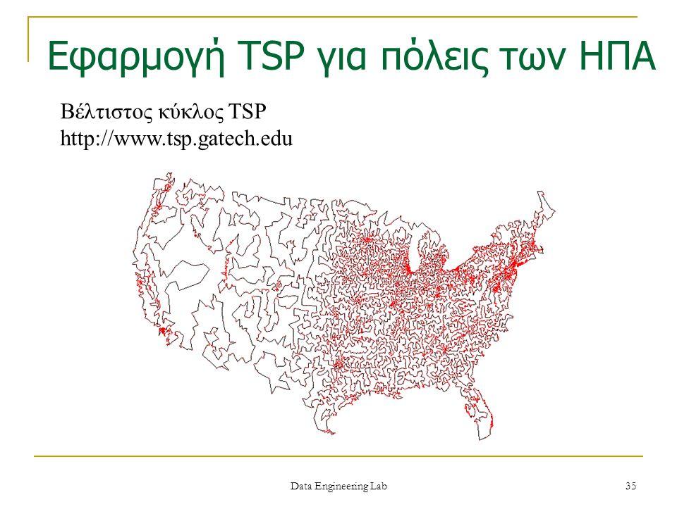 Βέλτιστος κύκλος TSP http://www.tsp.gatech.edu Εφαρμογή TSP για πόλεις των ΗΠΑ Data Engineering Lab 35