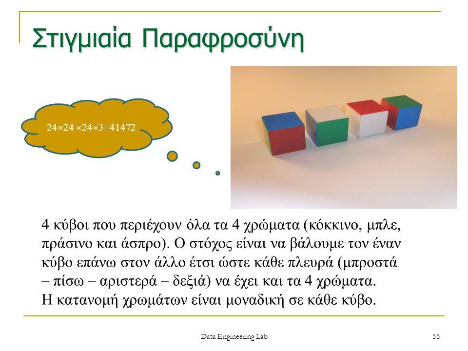 Στιγμιαία Παραφροσύνη 4 κύβοι που περιέχουν όλα τα 4 χρώματα (κόκκινο, μπλε, πράσινο και άσπρο). Ο στόχος είναι να βάλουμε τον έναν κύβο επάνω στον άλ