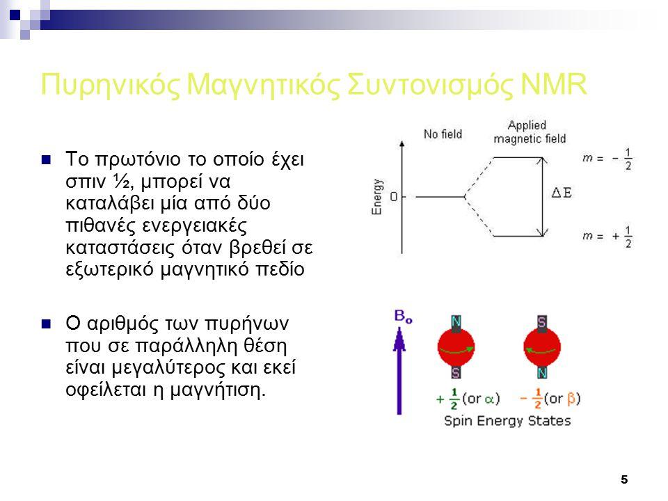 5 Πυρηνικός Μαγνητικός Συντονισμός NMR Το πρωτόνιο το οποίο έχει σπιν ½, μπορεί να καταλάβει μία από δύο πιθανές ενεργειακές καταστάσεις όταν βρεθεί σε εξωτερικό μαγνητικό πεδίο Ο αριθμός των πυρήνων που σε παράλληλη θέση είναι μεγαλύτερος και εκεί οφείλεται η μαγνήτιση.