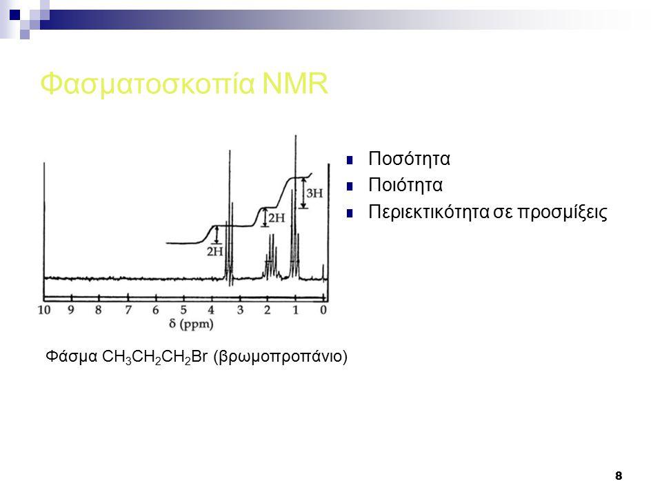 9 Φασματοσκοπία NMR με τεχνική Fourier Έλλειψη ευαισθησίας σε σχέση με IR και UV-VIS μεθόδους Άυξηση ισχύος εφαρμοζόμενου μαγνητικού πεδίου  800- 1000ΜHz Fourier,σάρωση δείγματος πολλές φορές 100 σαρώσεις δίνουν αύξηση Σ/Θ κατά Ακτινοβόληση όλων των συχνοτήτων συγχρόνως (Pulse) Αιθυλοβενζόλιο CH 2 CH 3