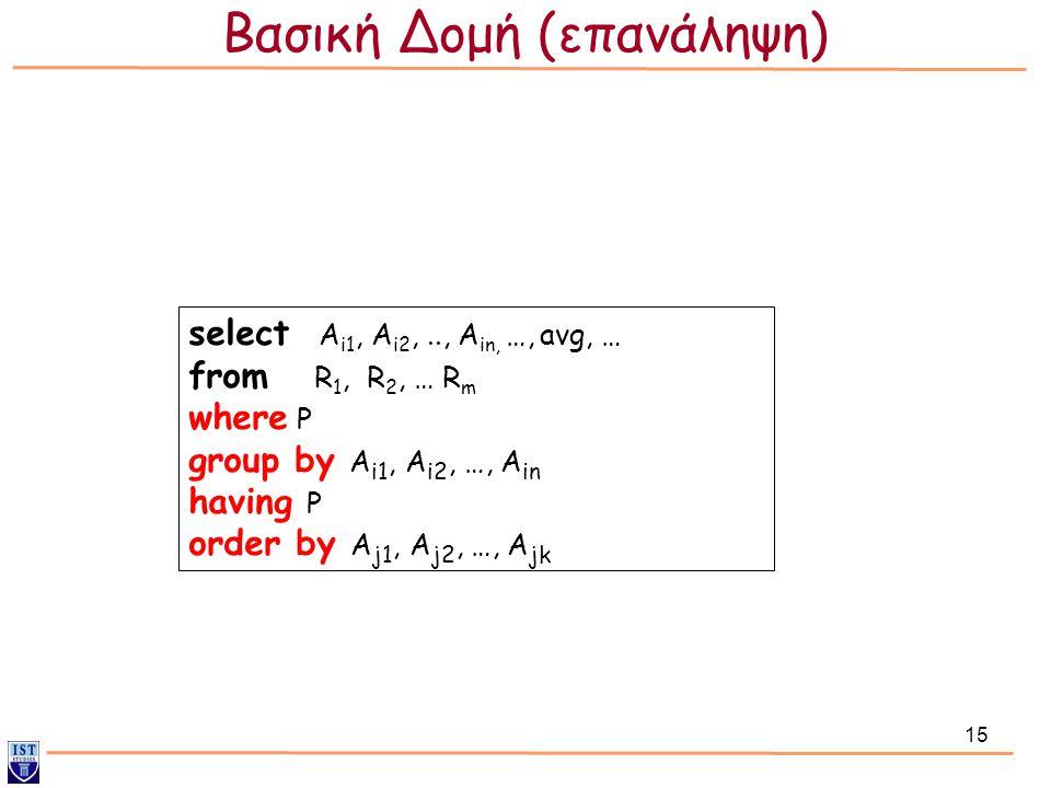 15 select Α i1, Α i2,.., Α in, …, avg, … from R 1, R 2, … R m where P group by Α i1, A i2, …, A in having P order by A j1, A j2, …, A jk Βασική Δομή (