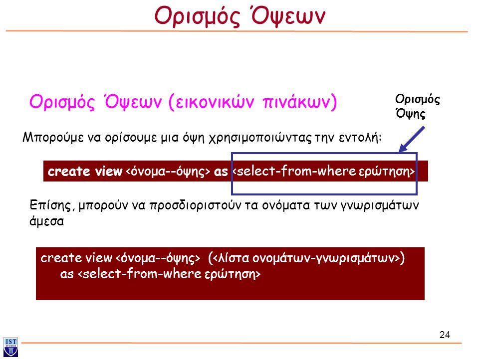 24 Ορισμός Όψεων (εικονικών πινάκων) Μπορούμε να ορίσουμε μια όψη χρησιμοποιώντας την εντολή: Επίσης, μπορούν να προσδιοριστούν τα ονόματα των γνωρισμάτων άμεσα create view as create view ( ) as Ορισμός Όψης Ορισμός Όψεων