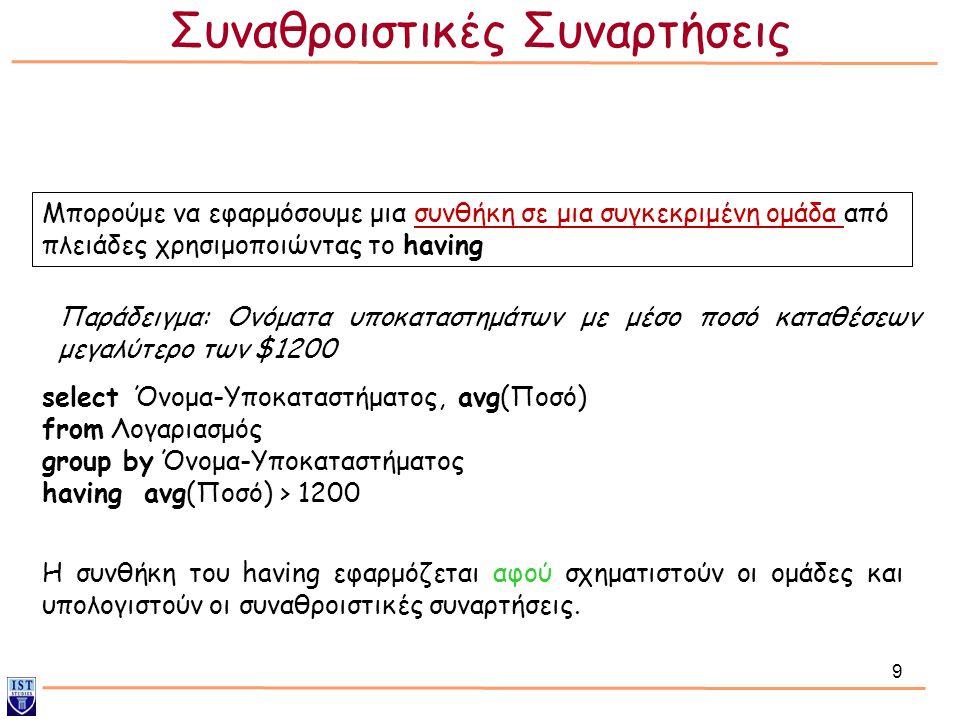 9 Μπορούμε να εφαρμόσουμε μια συνθήκη σε μια συγκεκριμένη ομάδα από πλειάδες χρησιμοποιώντας το having Παράδειγμα: Ονόματα υποκαταστημάτων με μέσο ποσό καταθέσεων μεγαλύτερο των $1200 select Όνομα-Υποκαταστήματος, avg(Ποσό) from Λογαριασμός group by Όνομα-Υποκαταστήματος having avg(Ποσό) > 1200 Η συνθήκη του having εφαρμόζεται αφού σχηματιστούν οι ομάδες και υπολογιστούν οι συναθροιστικές συναρτήσεις.
