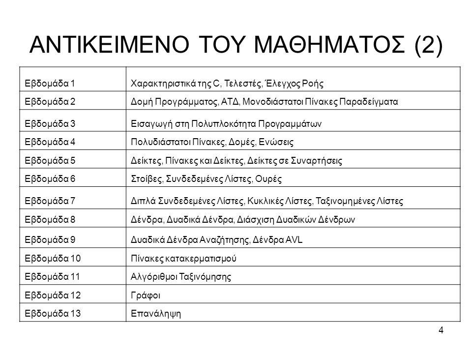 5 ΣΤΟΙΧΕΙΑ ΓΙΑ ΤΟ ΜΑΘΗΜΑ (1) Το πρόγραμμα: –Διαλέξεις (Στo Α4 – Γενικές Έδρες) Τρίτη 15:00 – 18:00 (CVETKOVIC, I.