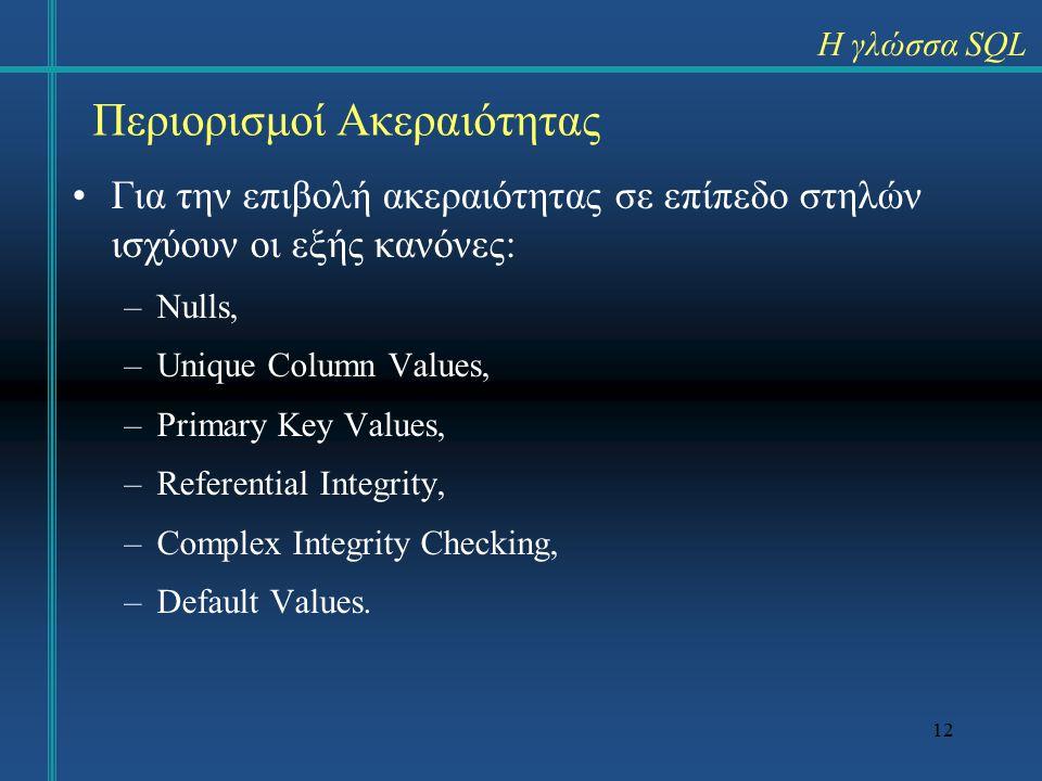 12 Περιορισμοί Ακεραιότητας Για την επιβολή ακεραιότητας σε επίπεδο στηλών ισχύουν οι εξής κανόνες: –Nulls, –Unique Column Values, –Primary Key Values, –Referential Integrity, –Complex Integrity Checking, –Default Values.
