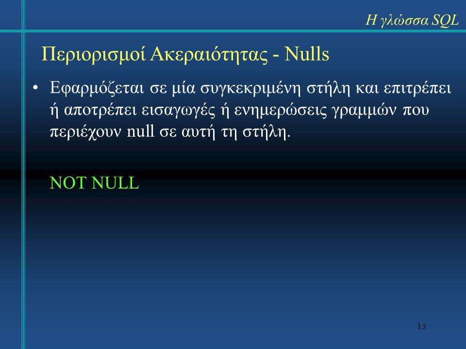 13 Εφαρμόζεται σε μία συγκεκριμένη στήλη και επιτρέπει ή αποτρέπει εισαγωγές ή ενημερώσεις γραμμών που περιέχουν null σε αυτή τη στήλη.