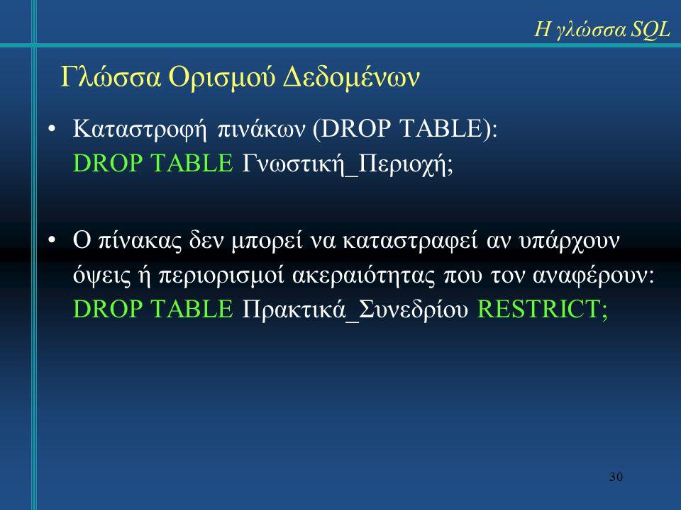 30 Καταστροφή πινάκων (DROP TABLE): DROP TABLE Γνωστική_Περιοχή; Ο πίνακας δεν μπορεί να καταστραφεί αν υπάρχουν όψεις ή περιορισμοί ακεραιότητας που τον αναφέρουν: DROP TABLE Πρακτικά_Συνεδρίου RESTRICT; Η γλώσσα SQL Γλώσσα Ορισμού Δεδομένων