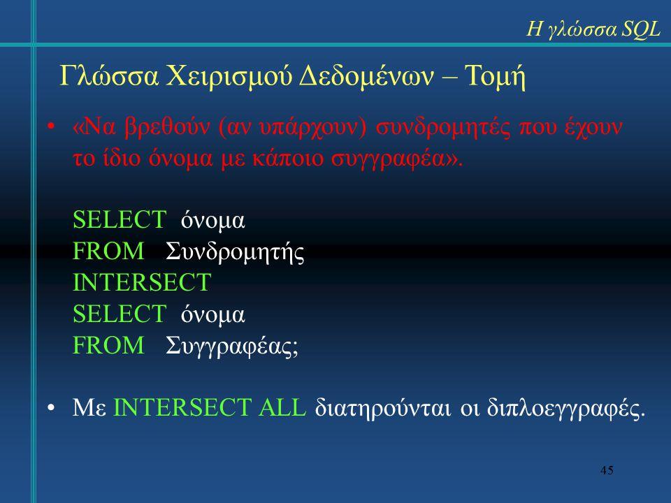 45 Γλώσσα Χειρισμού Δεδομένων – Τομή «Να βρεθούν (αν υπάρχουν) συνδρομητές που έχουν το ίδιο όνομα με κάποιο συγγραφέα».