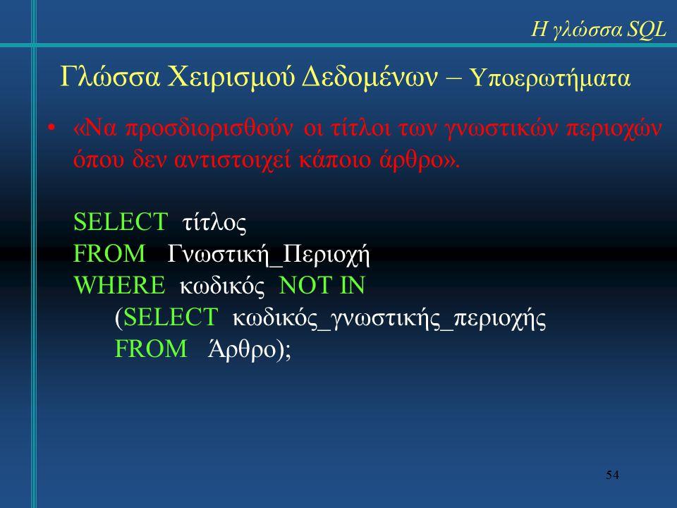54 Γλώσσα Χειρισμού Δεδομένων – Υποερωτήματα «Να προσδιορισθούν οι τίτλοι των γνωστικών περιοχών όπου δεν αντιστοιχεί κάποιο άρθρο».