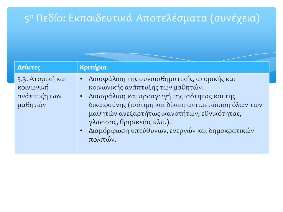 5 ο Πεδίο: Εκπαιδευτικά Αποτελέσματα (συνέχεια) ΔείκτεςΚριτήρια 5.3. Ατομική και κοινωνική ανάπτυξη των μαθητών Διασφάλιση της συναισθηματικής, ατομικ