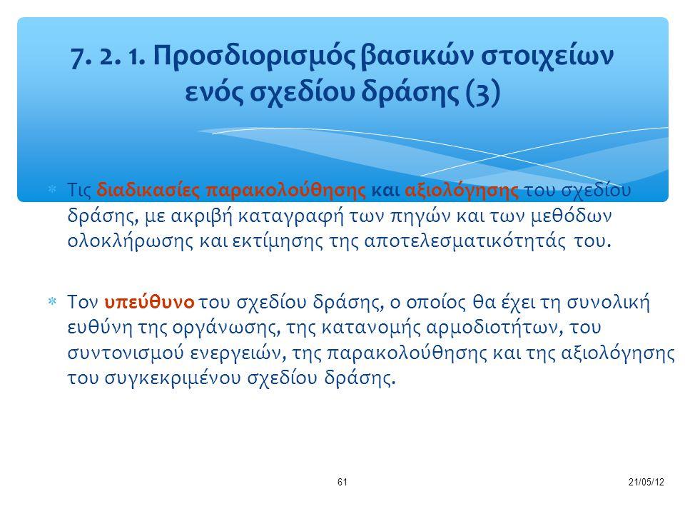 21/05/1261  Τις διαδικασίες παρακολούθησης και αξιολόγησης του σχεδίου δράσης, με ακριβή καταγραφή των πηγών και των μεθόδων ολοκλήρωσης και εκτίμηση