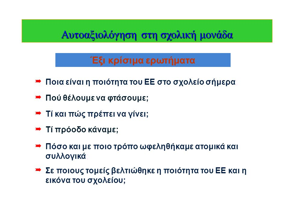 21/05/1218  Τη γενική ευθύνη για την οργάνωση, την υποστήριξη, και το συντονισμό της αξιολόγησης του ΕΕ της σχολικής μονάδας έχει ο διευθυντής του σχολείου.