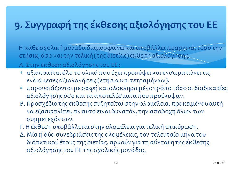21/05/1282 Η κάθε σχολική μονάδα διαμορφώνει και υποβάλλει ιεραρχικά, τόσο την ετήσια, όσο και την τελική (της διετίας) έκθεση αξιολόγησης. Α. Στην έκ